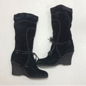 Steve Madden Black Suede Leather Wedge Boot